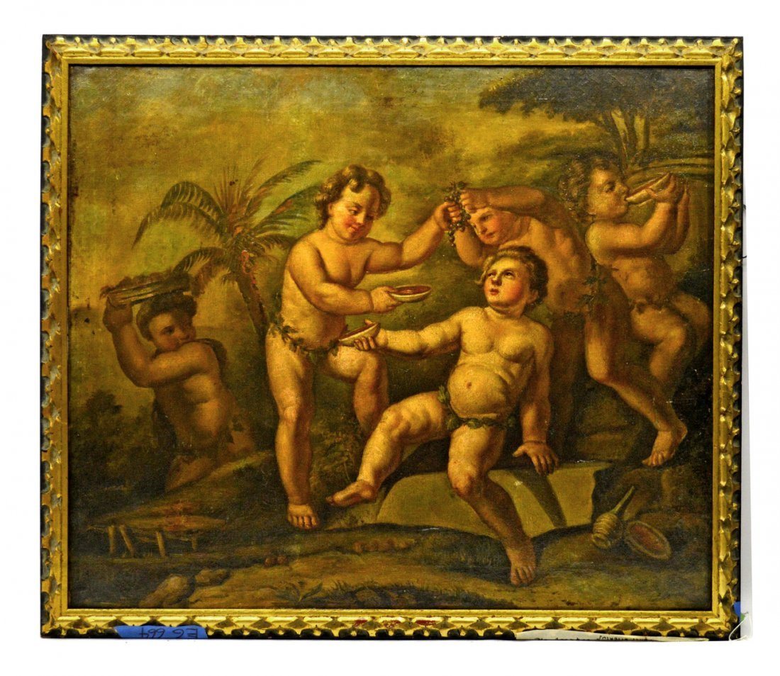19th C. European Oil on Canvas - Putti Bacchanalia