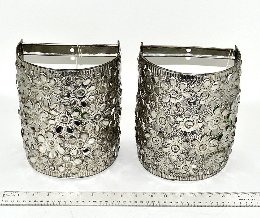 Pair of Mexican Pierced Steel Demilune Shades