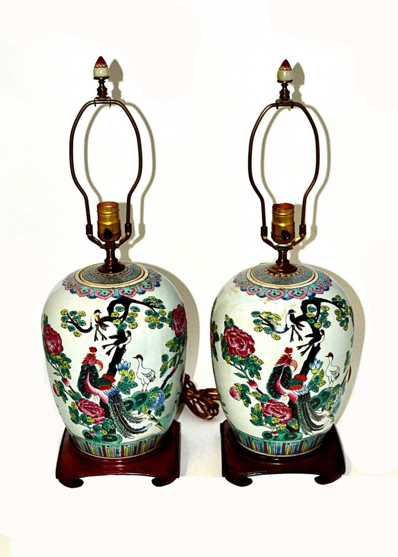 Pair of Asian Decorated Lamps