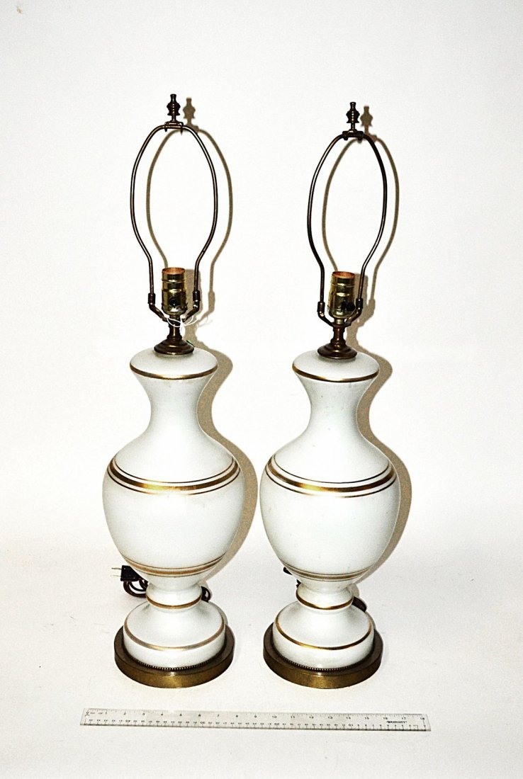 Pair of Opaline Style Lamps