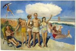 Francis Kughler Oil on Canvas  NYC Beach Scene