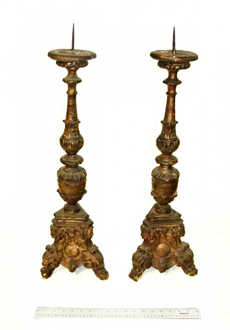 Pair of Continental Wood Candlesticks