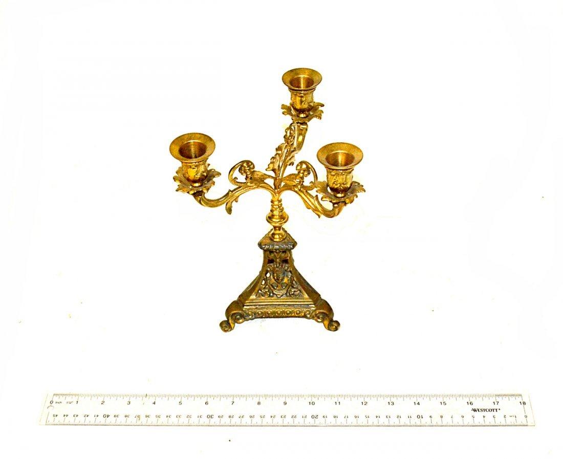 Single 19th Century Brass Candelabra