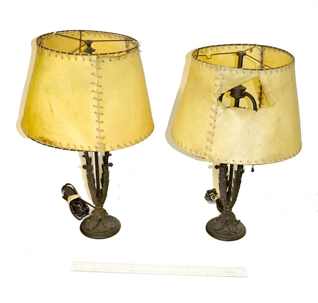 Pair of German Iron Table Lamps