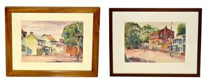 Two Max Kuehne Watercolors- Village Street Scenes
