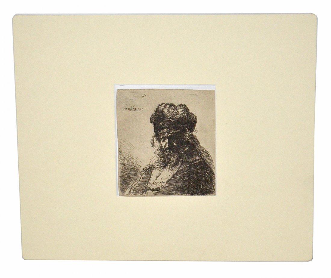 """After Rembrandt Van Rijn, Etching - """"Oriental Head"""""""