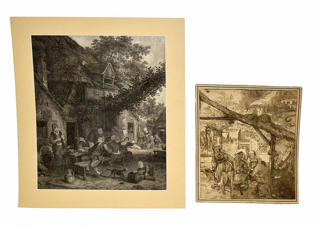 Two Antique Fête Champêtre Engravings