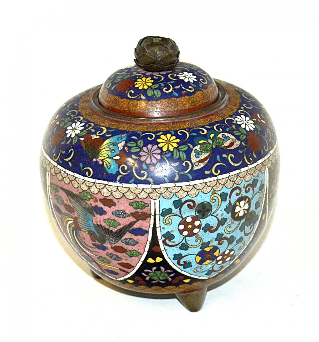 Footed Chinese Cloisonné Covered Jar