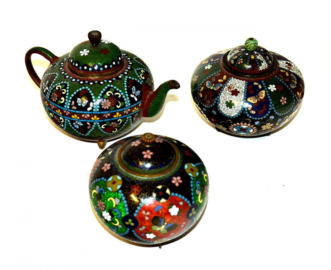 Three Chinese Cloisonné Articles
