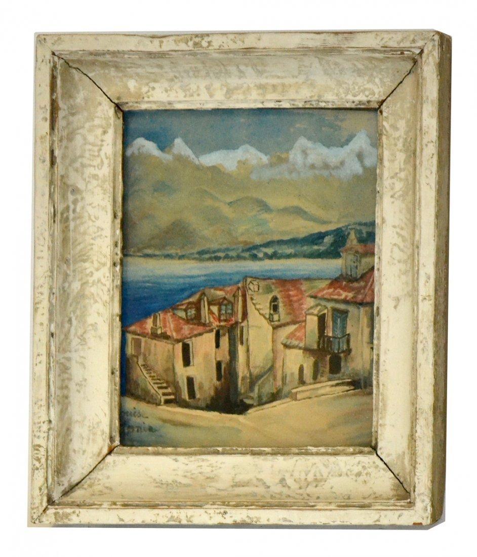 Louise, Watercolor- Village Mountain Scene