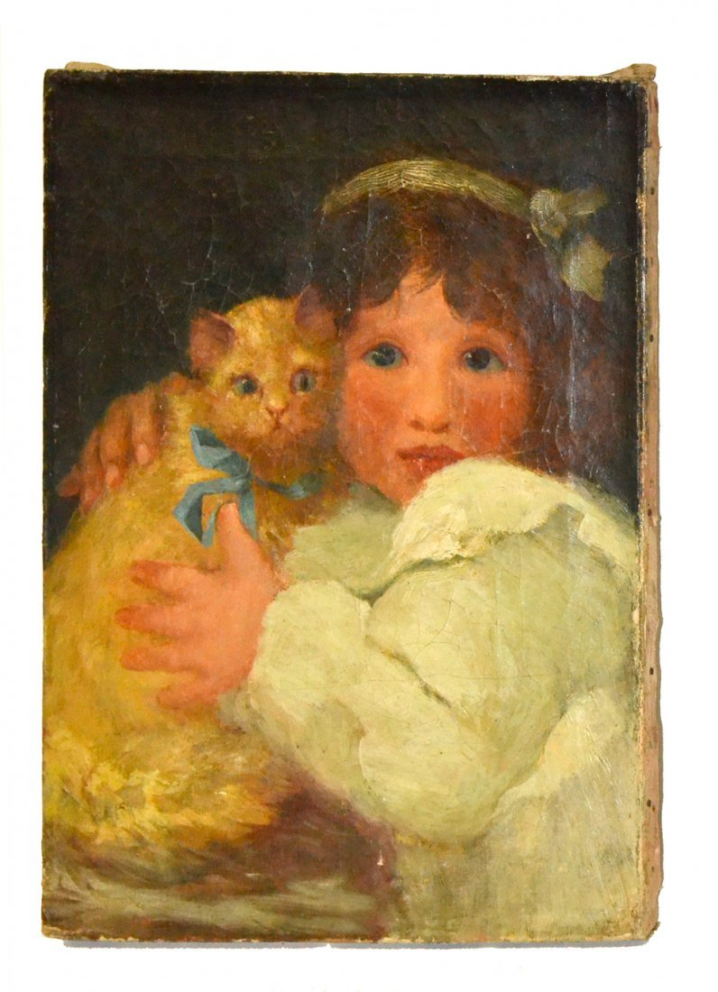 Phyliss Fraser, Oil on Canvas- Child with Cats