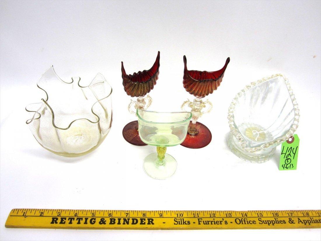 Five Venetian Glass Decorations