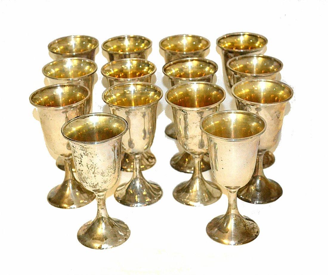Set of 14 Sterling Silver Goblets