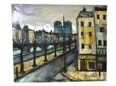 """Charles Levier, Oil/Canvas - """"Le Quai de la Seine"""""""