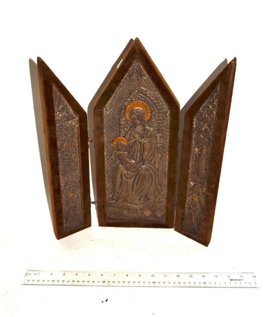 Madonna and Child Repoussé Triptych