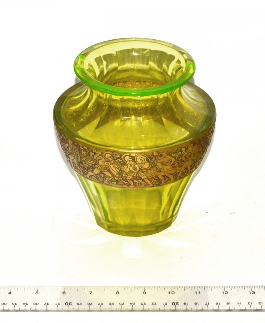 Moser Carlsbad Faceted Green Glass Vase