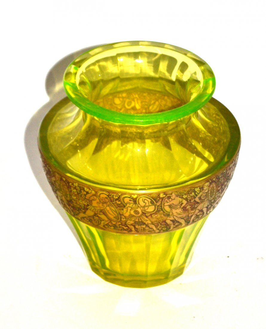 Moser Carlsbad Faceted Green Glass Vase - 2