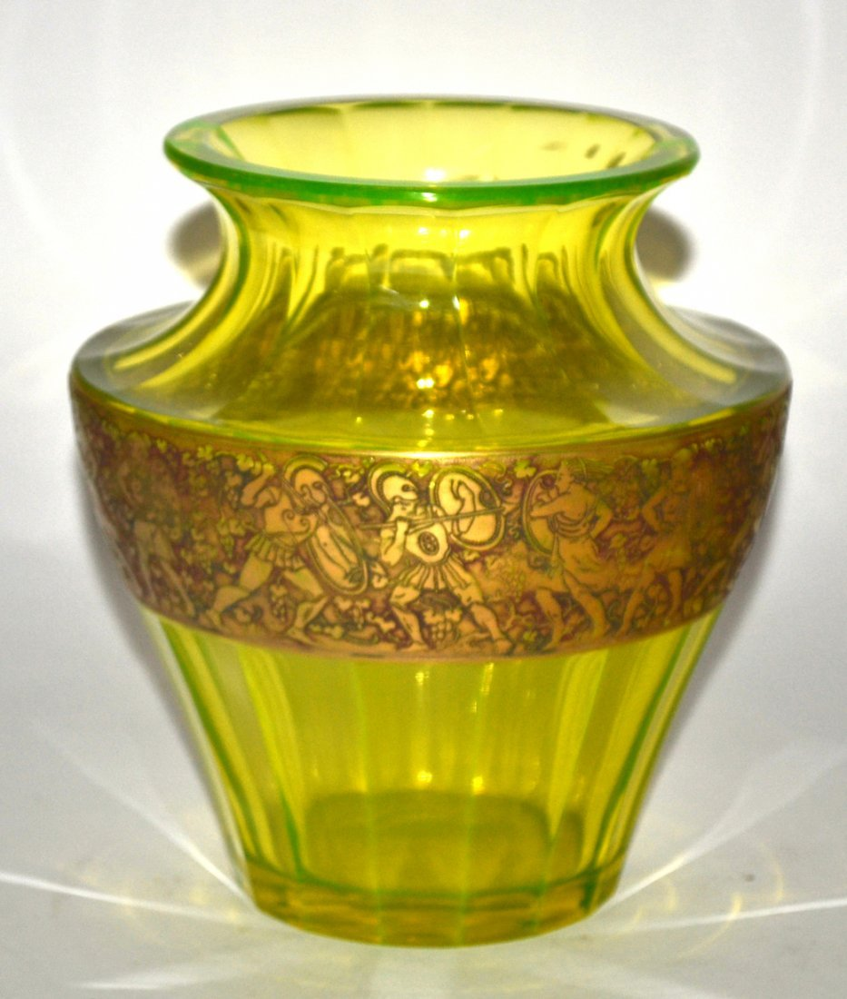Moser Carlsbad Faceted Green Glass Vase - 3