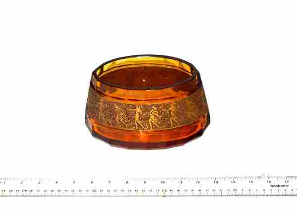Moser Carlsbad Faceted Amber Glass Bowl
