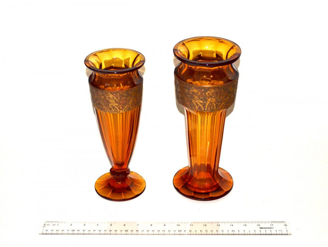 Two Moser Faceted Amber Glass Vases
