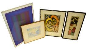 Group of Four Framed Works on Paper