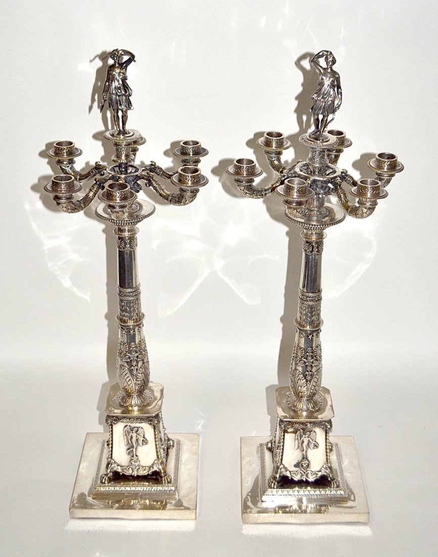 Pair of Russian Silver Candelabra