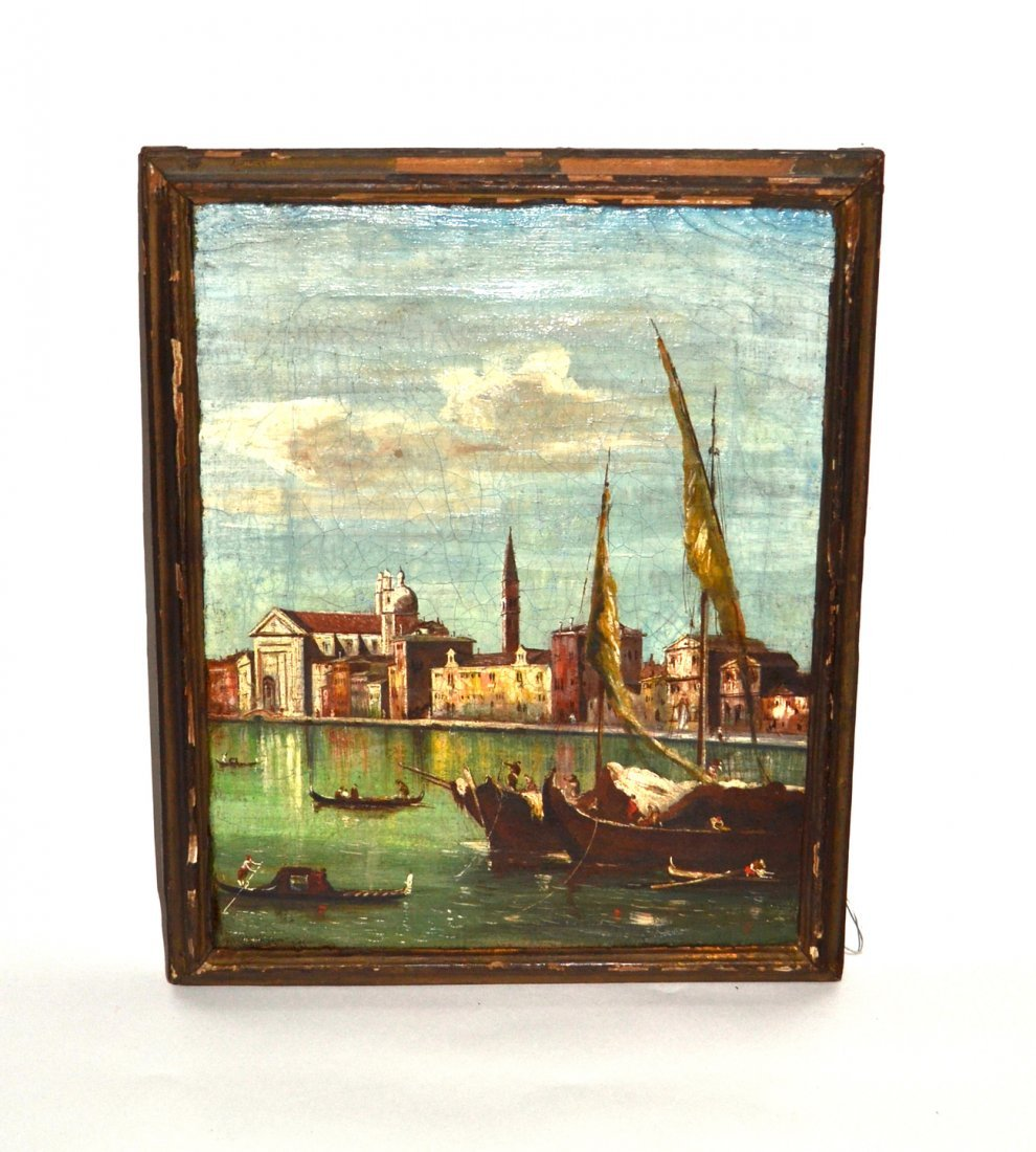 Oil on Canvas - Old Venetian Canal Scene