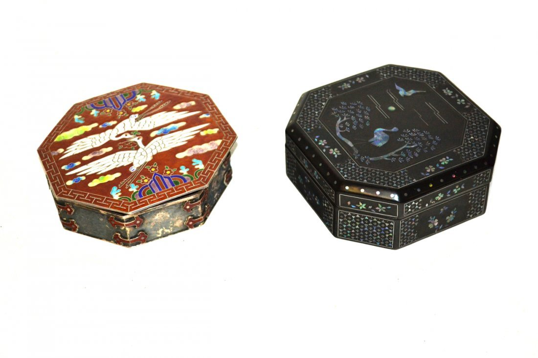 Cloisonné Box and a Lacquered Box