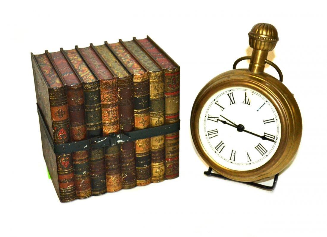 Tin Book Box & Clock