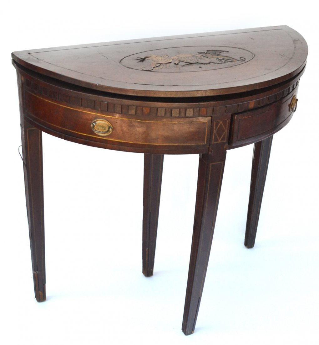 19th Century Demi-Lune Card Table