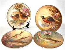 Set of Four Limoges Wildlife Plates