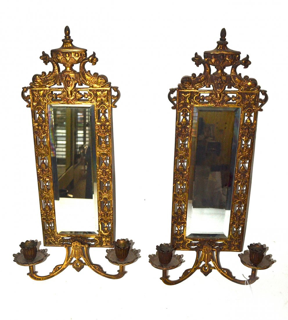 Pair of Mirror Back Sconces