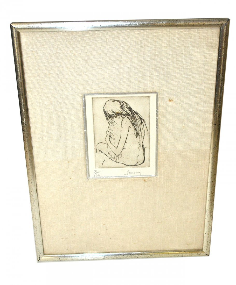Jean Jansem Etching, 'Mother and Child'