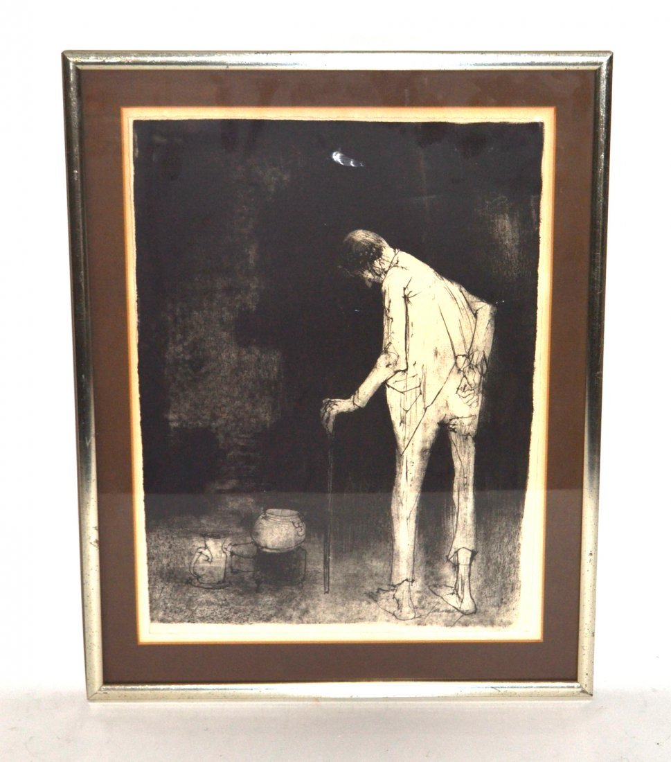 Jean Jansem Lithograph, 'Man with Cane'