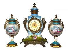 Assembled Continental Porcelain Mantle Clock Set