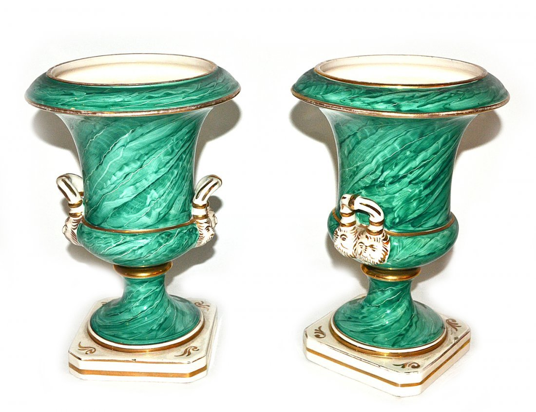"Pair of Italian ""Malachite""Decorated Porcelain Urn"