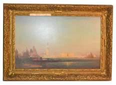 "Felix Ziem O/C ""Gondolas on the Grand Canal in Venice"""