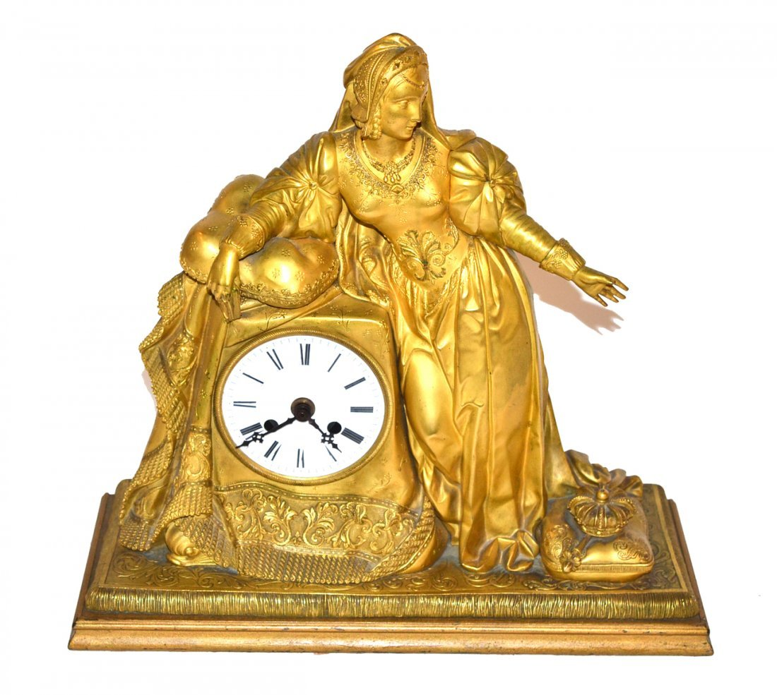 Antique Doré Bronze Mantle Clock