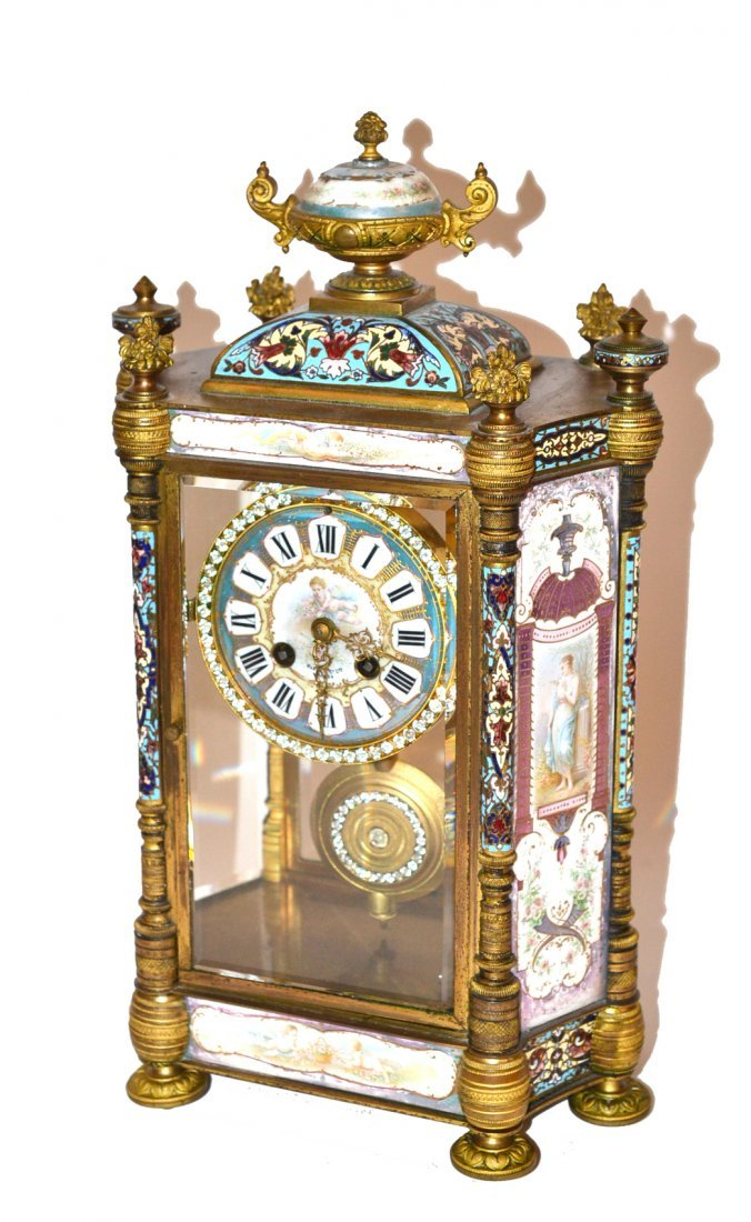 Antique French Cloisonné and Doré Bronze Clock