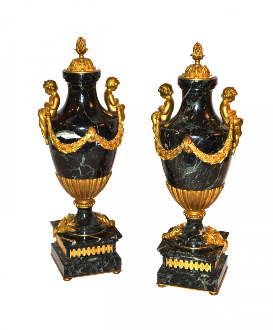 Pair of French Bronze Mounted Marble Urns