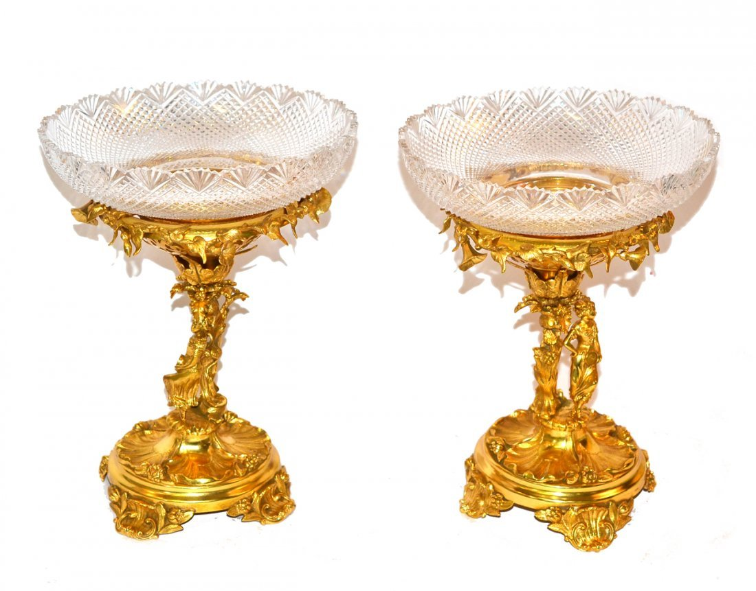 Pair of Gold-Plated Figural Compotes