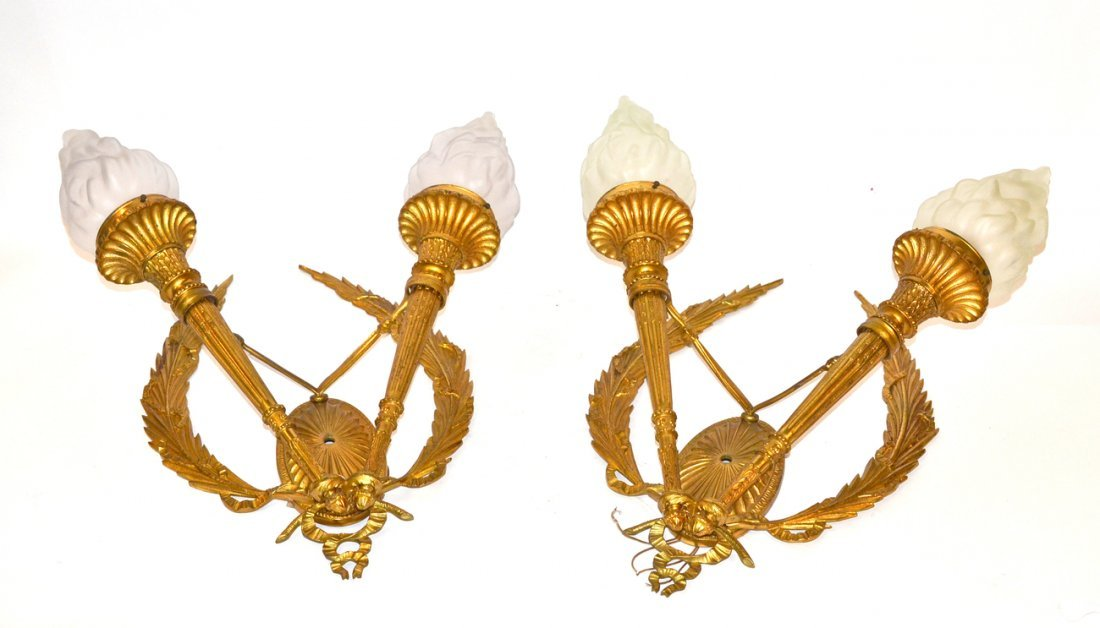 Pair of Bronze Empire Style Sconces