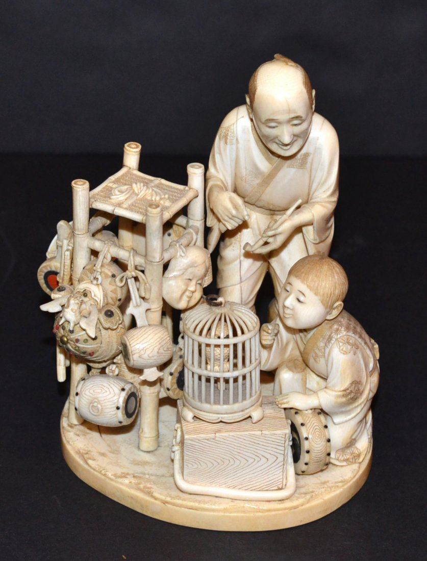 Antique Japanese Ivory Figural Group