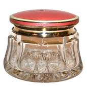 Large Enameled Silver  Glass Powder Jar