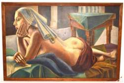 e Nygard Oil on Canvas Board, Reclining Nude
