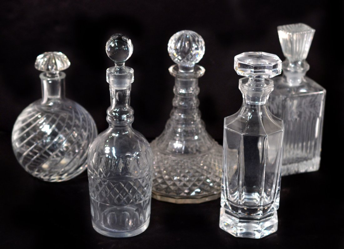 Five Crystal Decanters