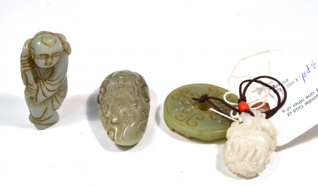 Four Chinese Carved Jade Articles