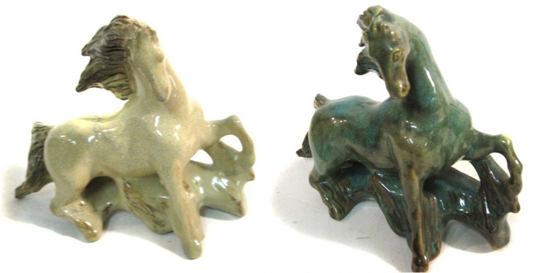 Two Modern Studio Pottery Horses