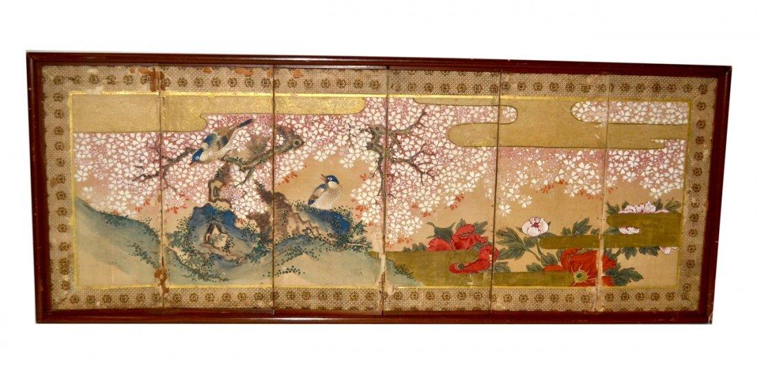 Japanese 19th C. Six-Panel Table Screen