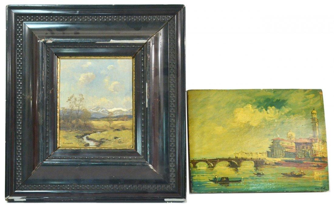 Two Vintage Oil on Board Paintings